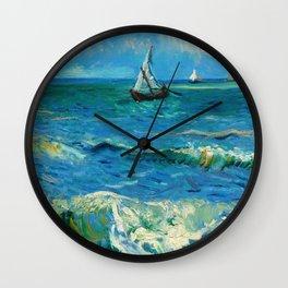 Vincent van Gogh - Seascape near Les Saintes-Maries-de-la-Mer, June 1888 Wall Clock