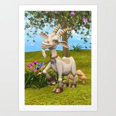 Happy Goat Art Print