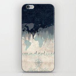 world map wanderlust forest 2 iPhone Skin