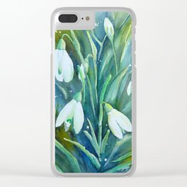 Watercolor snowdrop illustration Clear iPhone Case