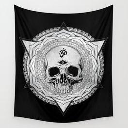 Life Touches The Seeker Ajna Skull Mandala Geometric Triangle Black Wall Tapestry