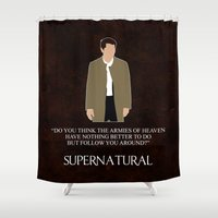 castiel Shower Curtains featuring Supernatural - Castiel by MacGuffin Designs