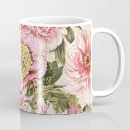 Vintage & Shabby Chic Floral Peony & Lily Flowers Watercolor Pattern Coffee Mug