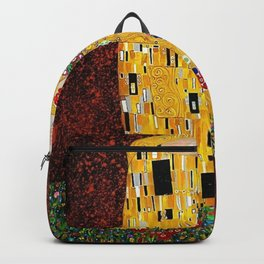 Gustav Klimt - The Kiss gold leaf, silver, and platinum, The Lovers golden period still life Backpack