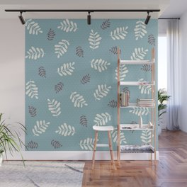 Falling Leaves – Blue Wall Mural