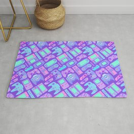Video Game Controllers in Cool Colors Rug