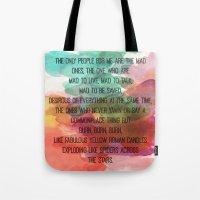 kerouac Tote Bags featuring Kerouac Watercolour: by NomadicArt
