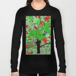 TREE RED AND GREEN LEAF Long Sleeve T-shirt