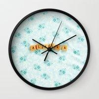alaska Wall Clocks featuring Alaska by samantha lawson