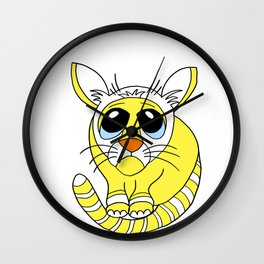 Hand drawn funny looking cat Wall Clock