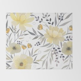 Modern, Floral Prints, Yellow, Gray and White Throw Blanket