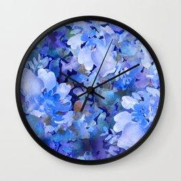 Wild Blue Rose Garden Wall Clock