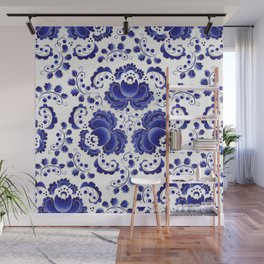 Russian folk pattern Gzhel Wall Mural