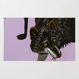Totem black Buffalo wolf (nubilus) lavender Rug