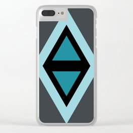 Geometric Triangles Design Turquoise III Clear iPhone Case