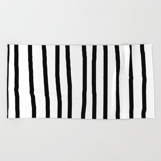 Simply Drawn Vertical Stripes in Midnight Black Beach Towel