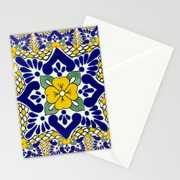 talavera mexican tile in yellow and blu Stationery Cards