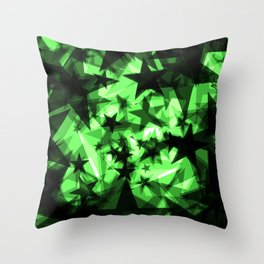 Dark green space stars with glow in the distance from the foil in perspective. Throw Pillow