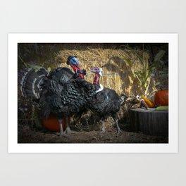 Thanksgiving Turkey Pilgrims Art Print