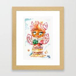 Mochi-Yuki Tiramisu - Food and Chibi Framed Art Print