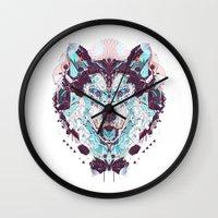 husky Wall Clocks featuring husky by yoaz