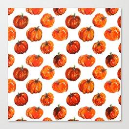 Watercolor fall pumpkins illustration Canvas Print