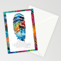 Colorful Feather Art -  Blessing - By Sharon Cummings Stationery Cards