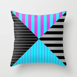 Stripes Quadrant - Purple, blue, black and grey stripes pattern Throw Pillow