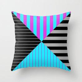 Stripes Quadrant - Purple, blue, black and grey stripes pattern Throw Pillow