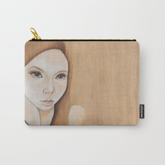 Self Portrait on Wood Carry-All Pouch