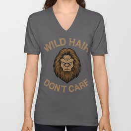 Wild Hair Don't Care Distressed Sasquatch Design for Bigfoot Lovers Unisex V-Neck