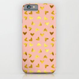 gold heart pattern pink iPhone Case