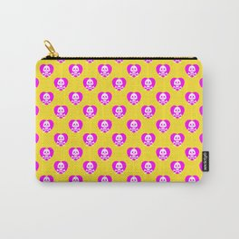 Skull heart pattern, punk rock skull, punk girl, love kills, yellow pink hearts, girly emo skull Carry-All Pouch