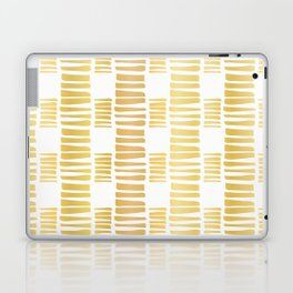 Luxe Gold Stripes Confetti Hand Drawn Vector Pattern Background Laptop & iPad Skin