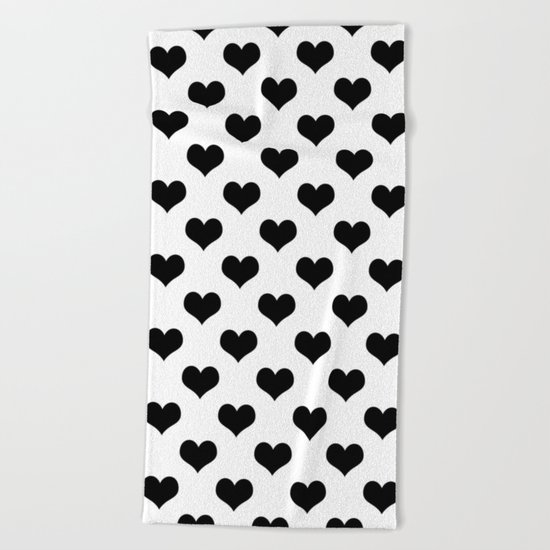 White Black Heart Minimalist Beach Towel