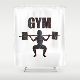 Gym Female Weightlifter Shower Curtain