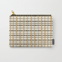 Hygge Plaid Painted Stripe Pattern Ochre Charcoal Cream Carry-All Pouch