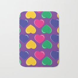 pattern with colorful hearts on purple background Bath Mat