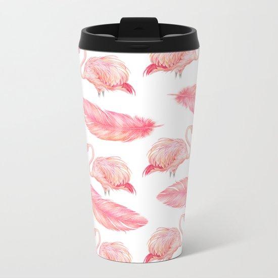 Flamingo Feather Art Pattern Metal Travel Mug