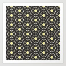 Beneficial Bumblebees and Hexagonal Honeycombs Art Print