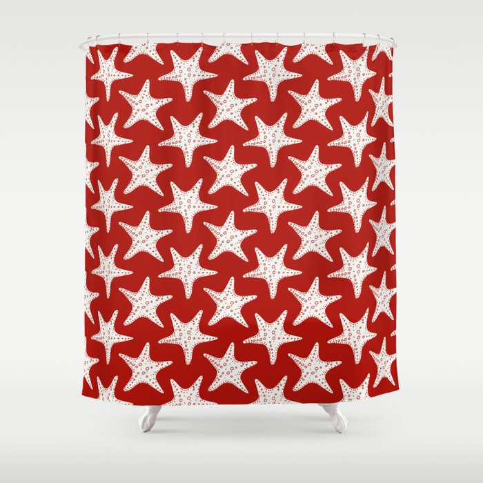 Maritime Red White Starfish Pattern