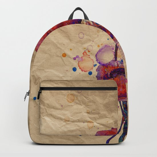Poppies - abstract watercolor drawing Backpack