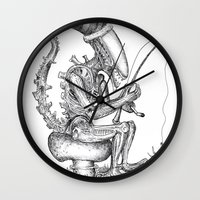 xenomorph Wall Clocks featuring Alien gnome by ronnie mcneil