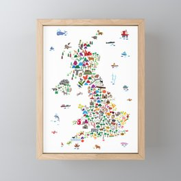 Animal Map of Great Britain & NI for children and kids Framed Mini Art Print