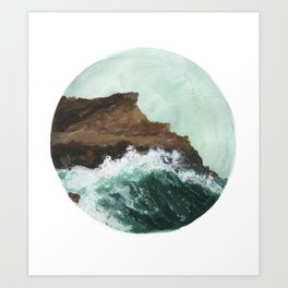 Crashing Waves on a cliff Art Print