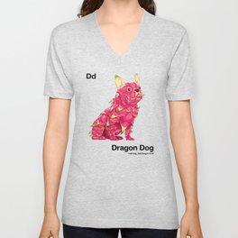 Dd - Dragon Dog // Half Dog, Half Dragon Fruit Unisex V-Neck