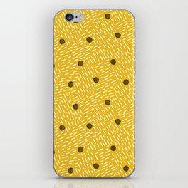Polka dots and dashes // mustard and gray iPhone Skin