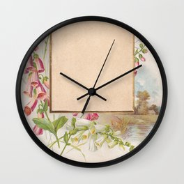 Frame with foxglove flowers and a tiny landscape  Wall Clock