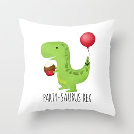Party-Saurus Rex Throw Pillow