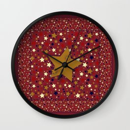 Gold Star Red Wall Clock